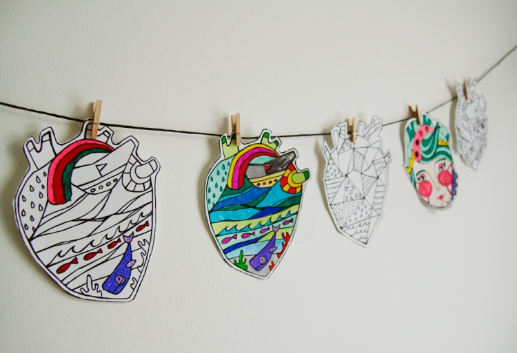 Coeurs à colorier par Kim Durocher